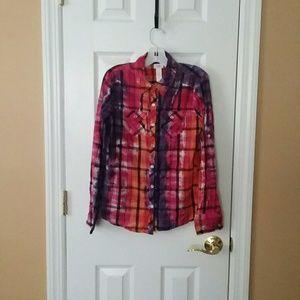 Justice Girls Tie Dye Plaid Shirt